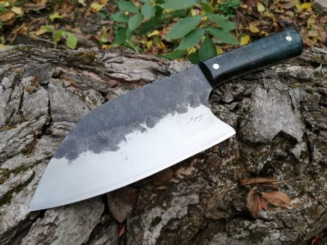 Chopper, forged from a 65g steel, stabilised wood handle.